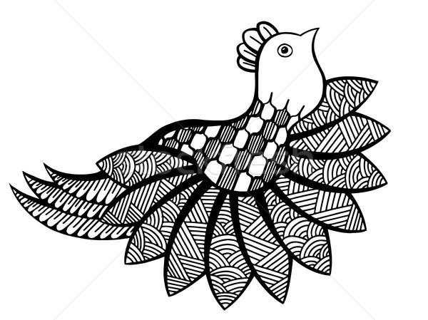 Vektor dekorativ funny Vogel ethnischen Maskottchen Stock foto © frescomovie