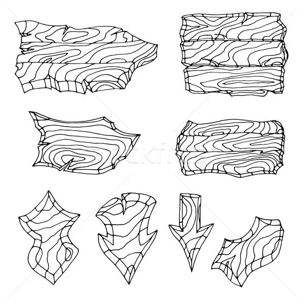Conjunto madeira fundo arte assinar Foto stock © frescomovie