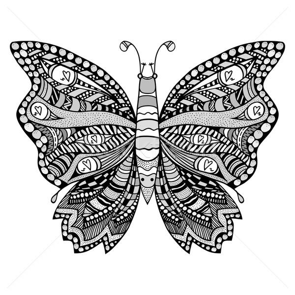 Stilisierten Schmetterling Schwarz Weiß Hand Gezeichnet