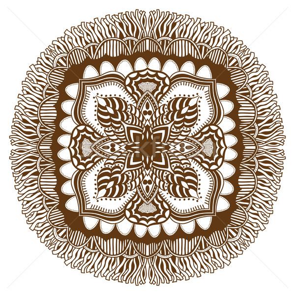 Mandala etnik dekoratif elemanları kahverengi Stok fotoğraf © frescomovie
