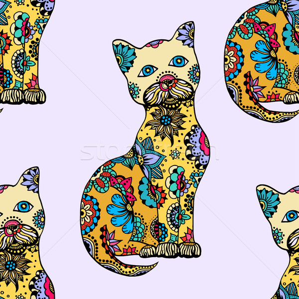 Stock photo: Cute doodle cats.