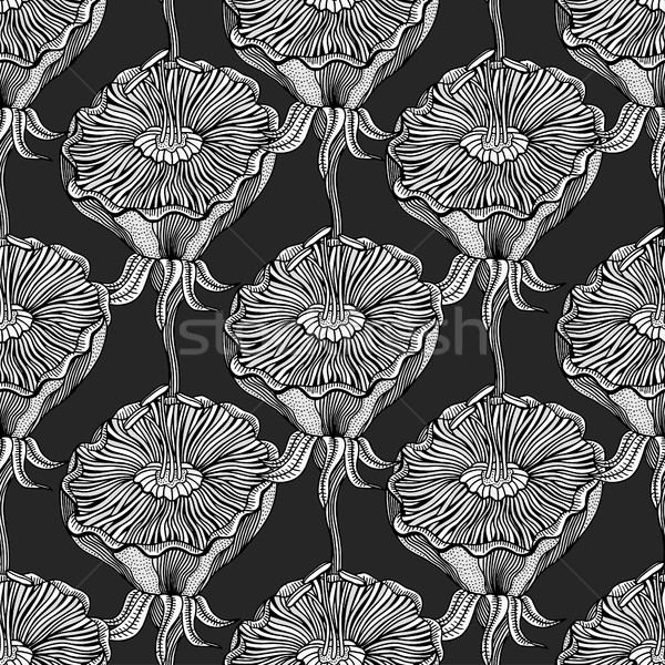 Seamless Monochrome Floral Pattern Stock photo © frescomovie