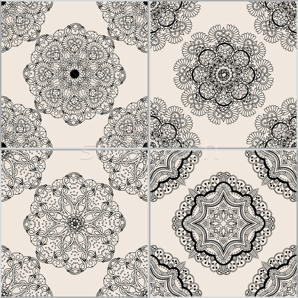 Сток-фото: черный · бежевый · геометрический · плитки · набор