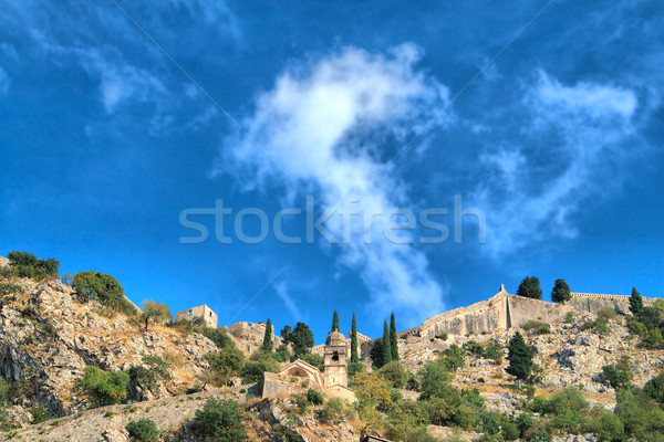 Old fort on mountain. Kotor, Montenegro. HDRI image Stock photo © frescomovie
