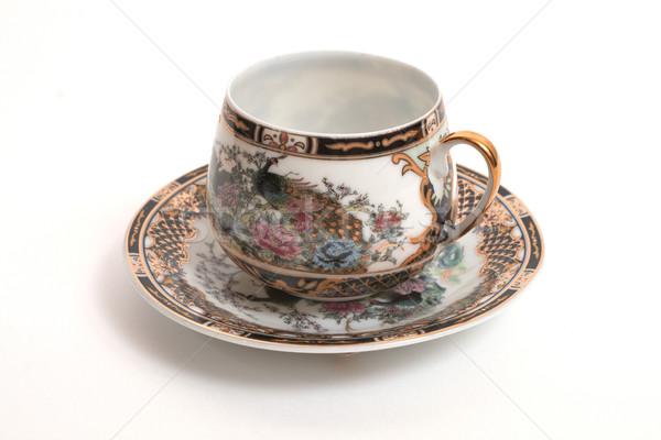 Кубок красивой антикварная изолированный белый цветы Сток-фото © frescomovie