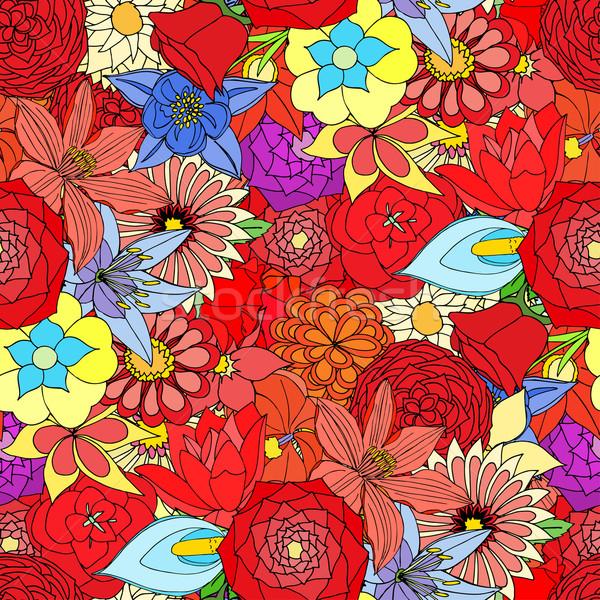 Gyönyörű nyár díszes sok virágok végtelen minta Stock fotó © frescomovie