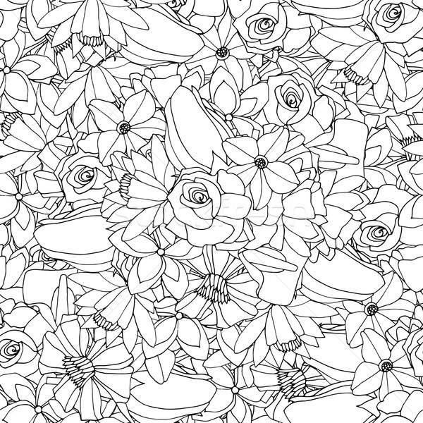 Floral Blätter Kritzeleien Ornament abstrakten Stock foto © frescomovie