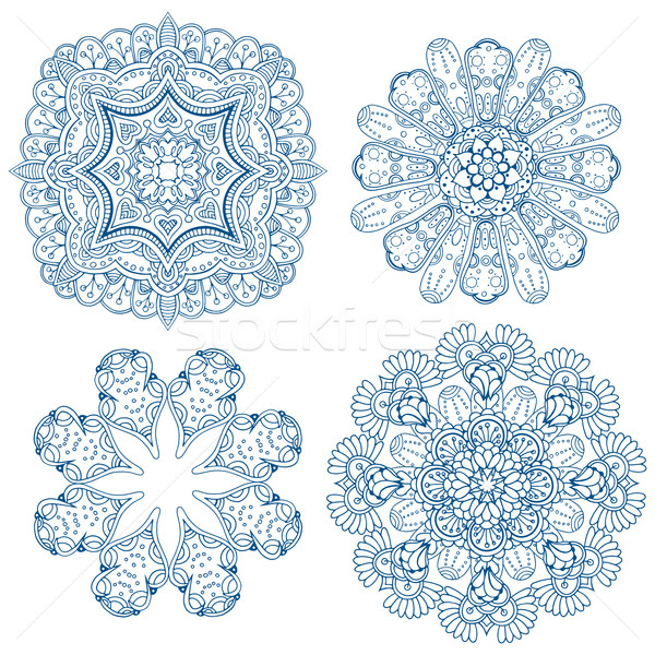 Set Design Kreis Elemente abstrakten blau Stock foto © frescomovie
