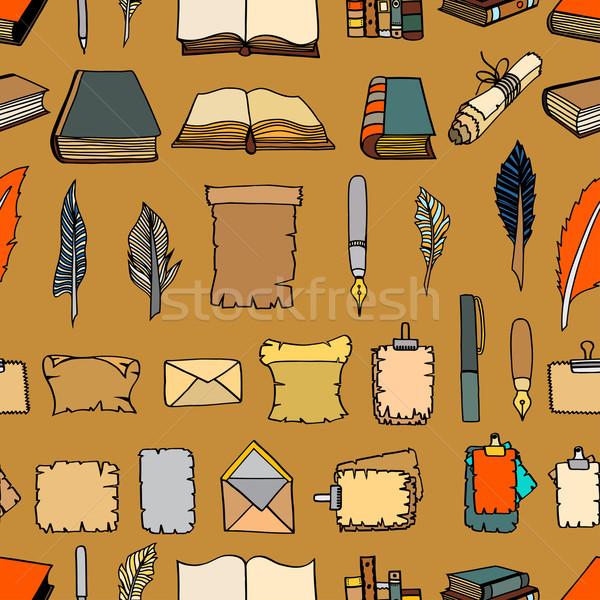 Stockfoto: Groot · ingesteld · boeken · pen · naadloos