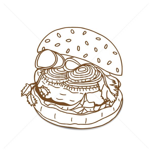 Burger сэндвич эскиз стиль старые Сток-фото © frescomovie