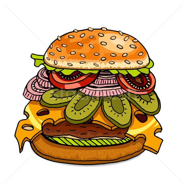 Hamburger isolated on white Stock photo © frescomovie