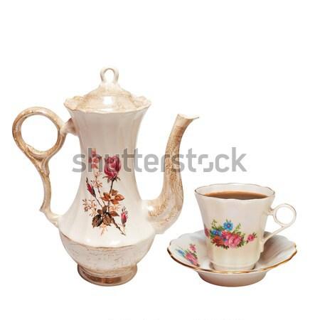Théière élevé peint roses isolé blanche Photo stock © frescomovie