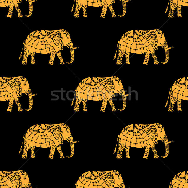 Imagine de stoc: Model · indian · elefantii · vector · mazgalitura