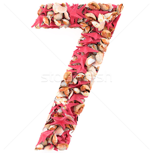 Stock photo: Number Seven made of seashells. Isolated on white. 3d render