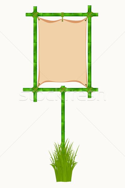 ストックフォト: 竹 · フレーム · 孤立した · 白 · 木材 · 自然