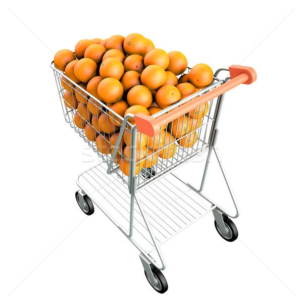 Warenkorb orange groß 3d render isoliert weiß Stock foto © frescomovie
