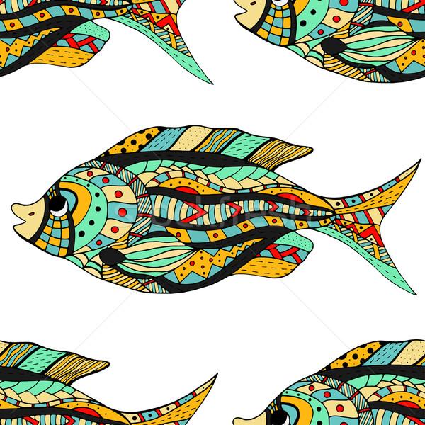 Peixe sem costura imagem projeto retro nadar Foto stock © frescomovie