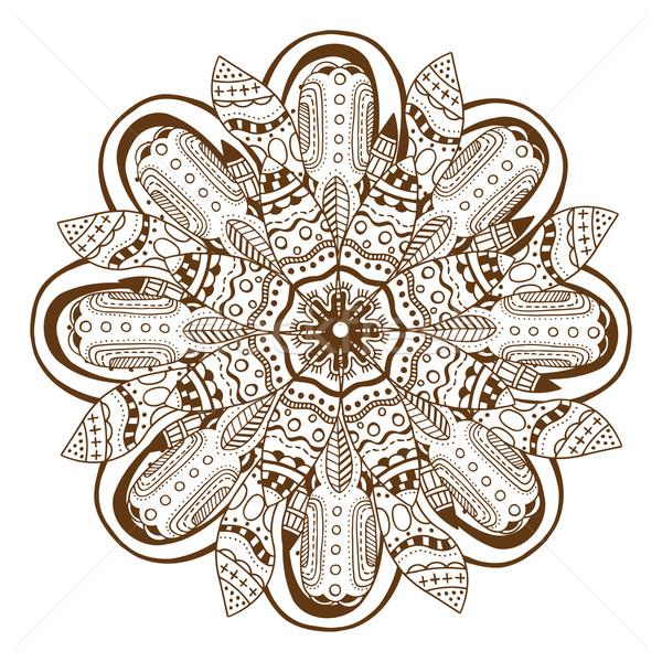 Körkörös virágmintás dísz mandala henna tetoválás Stock fotó © frescomovie