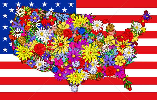Stock fotó: Térkép · Egyesült · Államok · virágok · üzlet · rózsa · gyerekek