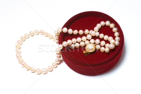 Caixa vermelho miçanga isolado branco fundo Foto stock © frescomovie
