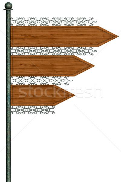 Richtung Straße Pol isoliert weiß Stock foto © frescomovie