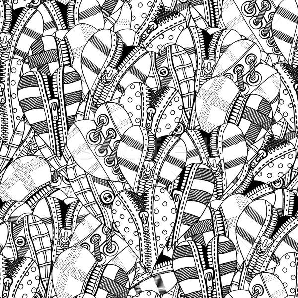 Stock fotó: Kézzel · rajzolt · szívek · végtelenített · valentin · nap · rajz · kifestőkönyv