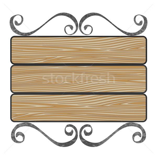 signboard with wooden planks Stock photo © frescomovie