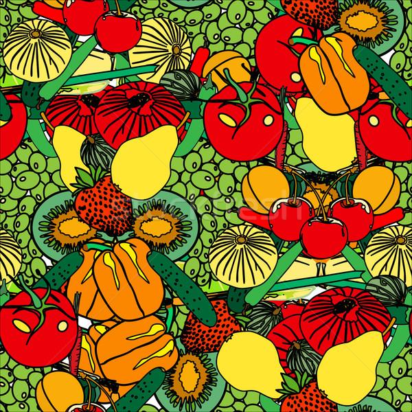 Stock fotó: Zöldségek · gyümölcs · végtelenített · vektor · étel · alma