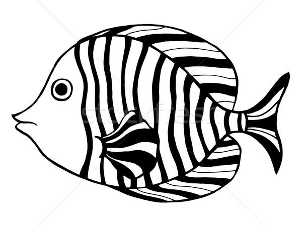 Kézzel rajzolt hal stilizált firka izolált fehér Stock fotó © frescomovie