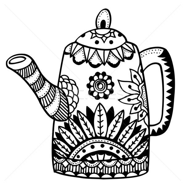 Tetera aislado vector dibujado a mano arte flores Foto stock © frescomovie