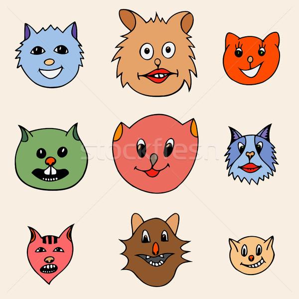 Foto stock: Adorável · desenho · animado · gatos · faces · conjunto · diferente