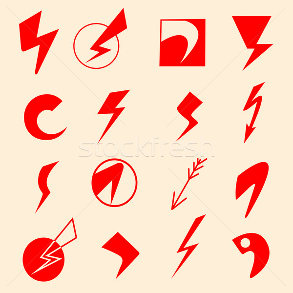 lightning icons Stock photo © frescomovie