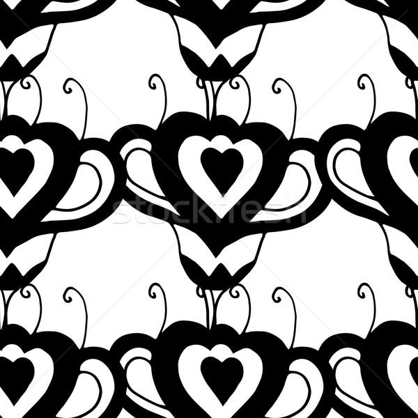 フローラル パターン シームレス モノクロ 手描き テクスチャ ストックフォト © frescomovie