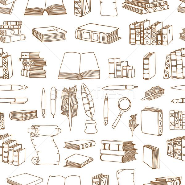 Stockfoto: Illustraties · boeken · naadloos · monochroom · patroon