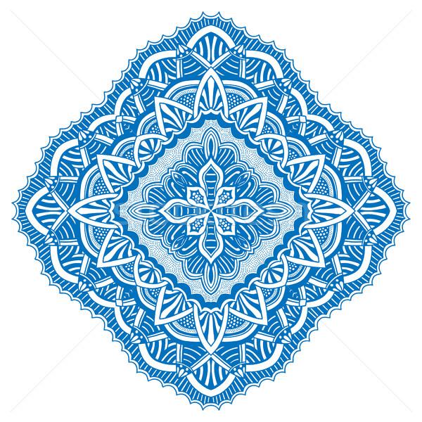 Azul detalhado mandala grande floral tropical Foto stock © frescomovie