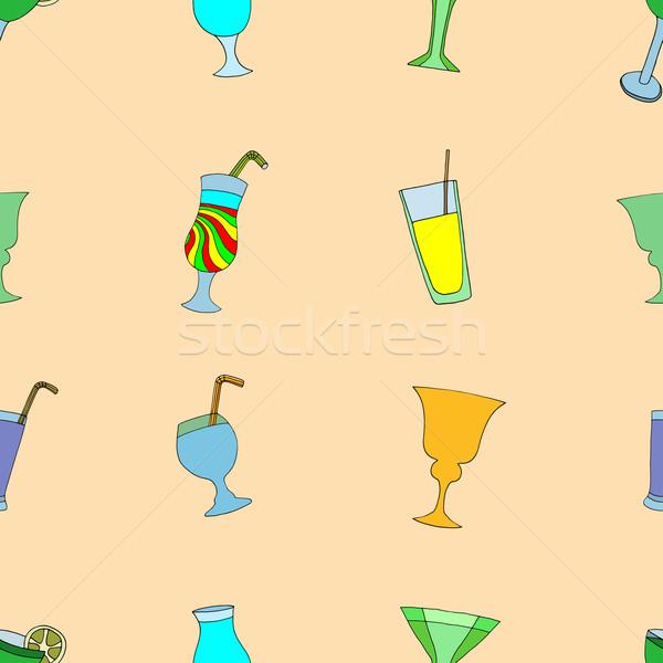 Cocktails Hand gezeichnet weiß Textur Hintergrund Stock foto © frescomovie