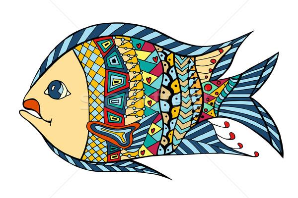 Estilizado peixe rabisco isolado branco Foto stock © frescomovie