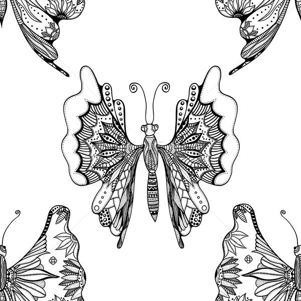 Modèle papillons blanc noir texture Photo stock © frescomovie