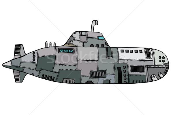 Doodle schets onderzeeër gekleurd oude kunst Stockfoto © frescomovie