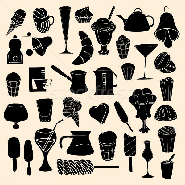 Stockfoto: Ingesteld · snoep · vector · doodle · illustratie · koffie