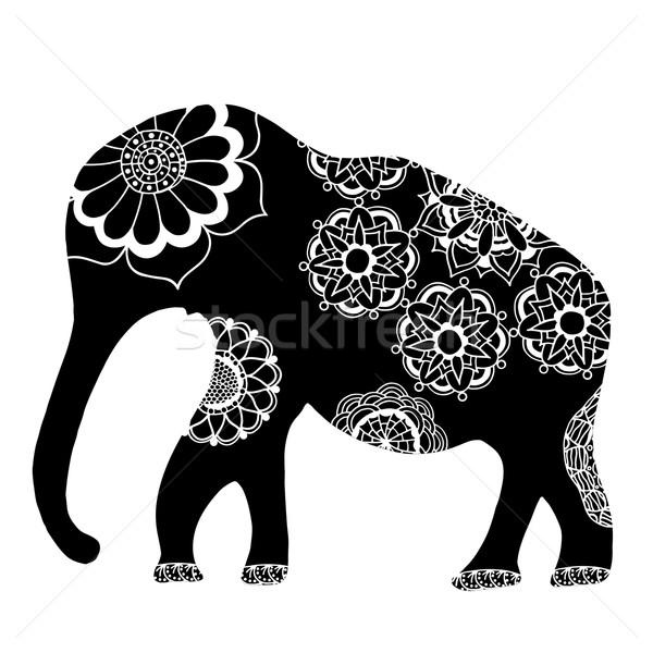 Fekete kisebbségi elefánt indiai kézzel rajzolt firka Stock fotó © frescomovie