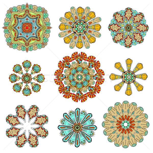 Absztrakt minta díszítő szett kilenc színes Stock fotó © frescomovie