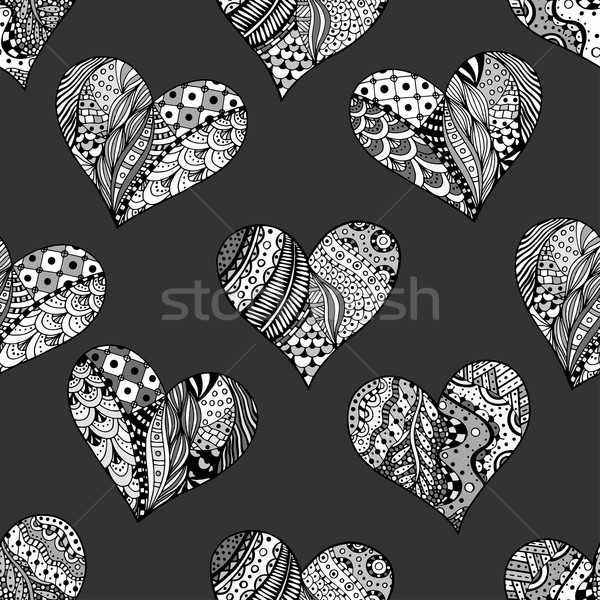 Stock photo: pattern of monochrome hearts