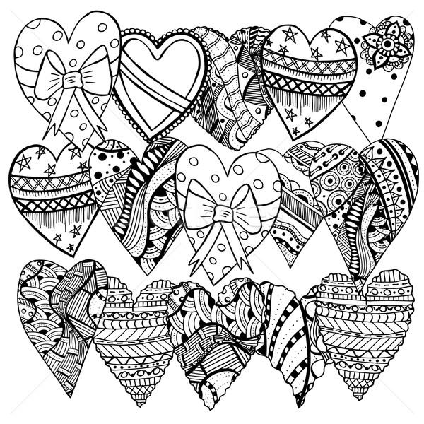 Stock fotó: Kézzel · rajzolt · szívek · szett · valentin · nap · rajz · kifestőkönyv