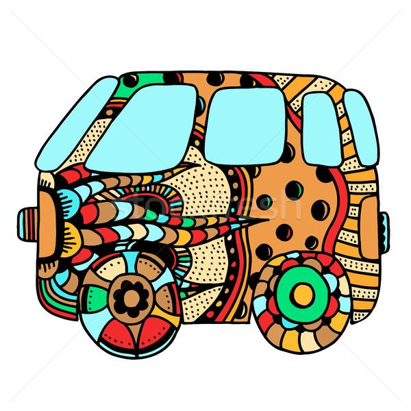 Hippi régi autó mini furgon felnőtt stressz Stock fotó © frescomovie