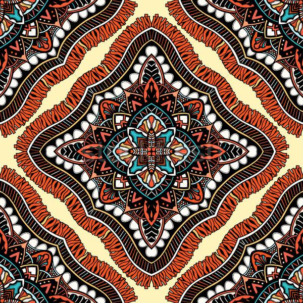 Bezszwowy wschodniej wzór stylizowany szablon tapety Zdjęcia stock © frescomovie