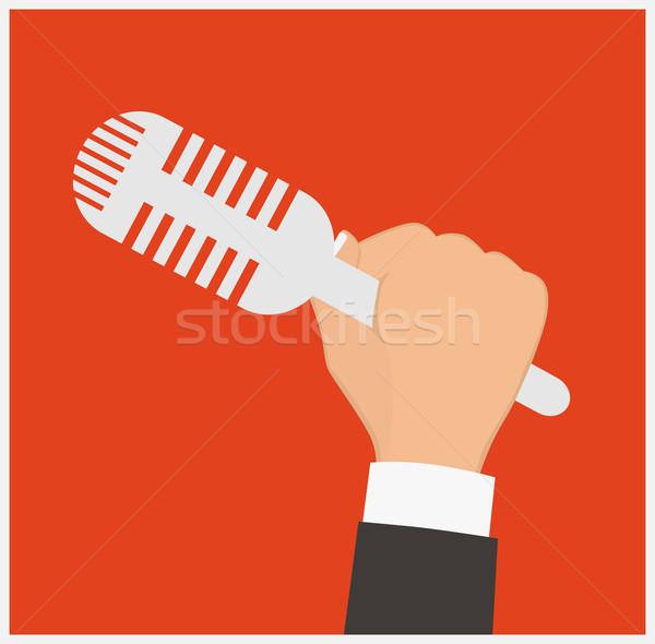 Mikrofon kéz tart sajtótájékoztató hírek dolgozik Stock fotó © frescomovie