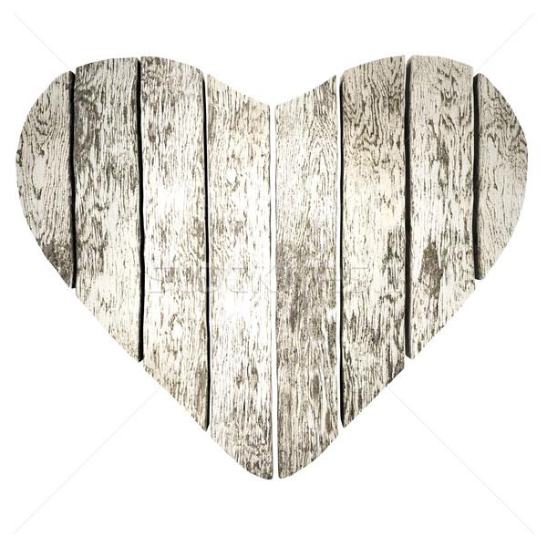 Szív deszkák szív alak fából készült 3d render fa Stock fotó © frescomovie