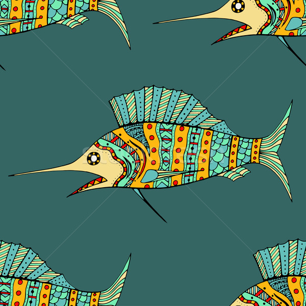 Zentangle fish background Stock photo © frescomovie
