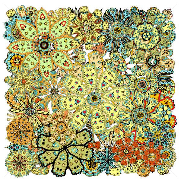 Kisebbségi színes virágmintás firka minta kör Stock fotó © frescomovie